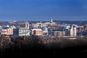 The skyline of Leeds City Centre as seen from Beeston Hill.