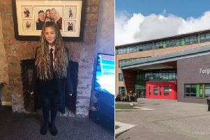 Scarlett, 15, in the skirt which was deemed 'too tight' by the school