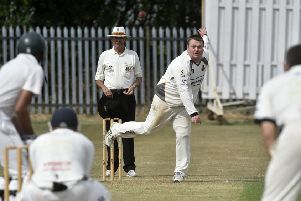 Townville v Pudsey St Lawrence Bradford League Premier Division sat 5th aug 2018'Chris Marsden of  Pudsey St Lawrence who took 2 wickets in the 9 wicket win