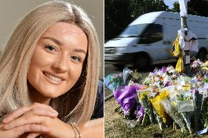 Robyn Hoban, left, and the flowers left to her four friends killed in the crash