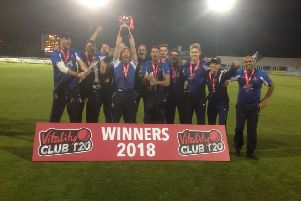 Hanging Heaton celebrate with the Vitality National Club T20 trophy