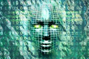 Human head emerging from a water and binary code surface. Digital illustration. Cyber security