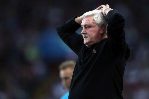 Aston Villa manager Steve Bruce appears frustrated during the Sky Bet Championship match at Villa Park before his dismissal (Picture: PA)