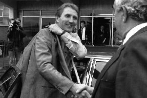 Welcome: Howard Wilkinson arrives at Elland Road to be greeted by Leslie Silver as he starts his new job as manager in October, 1988.