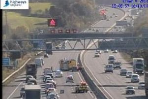 The scene of this afternoon's crash on the southbound stretch of the M1. Highways England