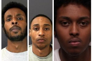Jailed: Mohamed Abdi, left, Julian Soares, centre and Adirahman Shire, right.