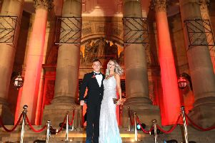 Spotlight: Josh Warrington and wife Natasha arrive at Leeds Town Hall for the premiere of Fighting For A City.