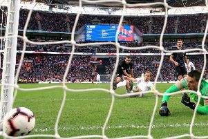 England's Harry Kane (centre) scores his side's winning goal against Croatia at Wembley. Picture: Nick Potts/PA