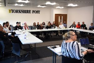 First aid: Instructor Tara Powell leads the course, left, and Ellie Walton (centre) takes part with the group of attendees at the YEP's offices.