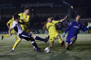Guiseley's Paul Clayton with a missed chance.