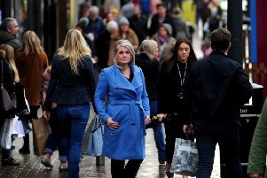 Consumer champion Kate Hardcastle, pictured with Christmas shoppers in Briggate, Leeds, this week.