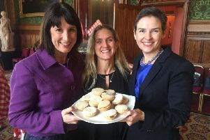 Campaign: Pictured from left MP Rachel Reeves, Kim Leadbeater and MP Mary Creagh share a Mince Pie Moment in Westminster on Wednesday 12 December, 2018.