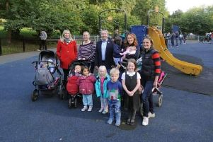 GREAT EFFORT: Fundraising mums Sara Dawson, second right, and Petra Smith, right, with Richard Critchley, chairman of FoRP, centre, pictured with mums using the park, left. PIC: Simon Hulme