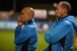Guiseley's joint-managers Marcus Bignot (left) and Russ O'Neill.