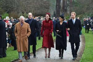 The Prince of Wales, the Duke of Cambridge, the Duchess of Cambridge, the Duchess of Sussex and the Duke of Sussex arriving to attend the Christmas Day morning church service at St Mary Magdalene Church in Sandringham, Norfolk. Picture: Joe Giddens/PA Wire