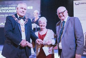 The Mayor  of Wakefield, Coun Stuart Heptinstall, left, presented an Unsung Heroes award to Josie Hemingway and Tom Long for their work with the Horbury Senior Citizens' Support Group.