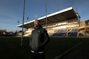 Jamie Peacock pictured by the new Main Stand at thre Emerald Headingly Stadium Leeds.9th January 2019.Picture by Simon Hulme