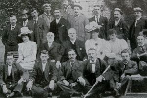 Cricketing royalty: Yorkshire players with Lord Hawke at Wighill Park, Hawke's family home, published in The Tatler in 1901. Hawke, standing, is fourth from the right and Carter, seated, is directly in front of him.
