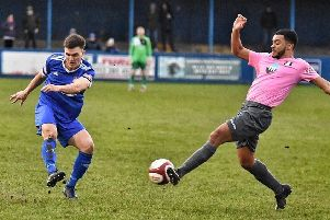 Action from Farsley Celtic's recent game against Grantham. Picture: John McEvoy.