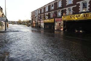 How the floods affected Kirkstall Road following the Boxing Day deluge of 2015.