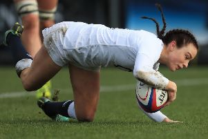 England's Kelly Smith scores a try during the Women's Six Nations win over France.