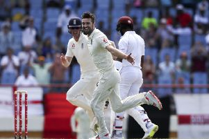 England's Mark Wood celebrates taking the wicket of West Indies' Shai Hope in St. Lucia. Picture: AP/Ricardo Mazalan