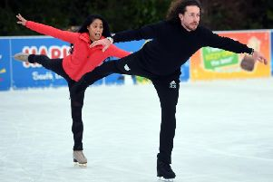 Ryan Sidebottom when he was preparomg to slide into action on the new series of Dancing on Ice with  partner Brandee Malto at the ice rink at McArthur Glen York. Picture by Jonathan Gawthorpe.