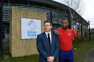 Bishop Young Church of England Academy, Bishops Way, Seacroft, Leeds.'Pictured principal Paul Cooper and teaching assistant Connor Wood, who is also as a 200m runner and due to represent Great Britain in the European Championships later this year.'20th February 2019.'Picture Jonathan Gawthorpe