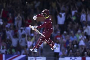 West Indies' Shimron Hetmyer celebrates after he scored a century against England at the Kensington Oval. Picture: AP/Ricardo Mazalan