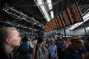Rail Passengers face delays at Leeds Railway Station   ..Picture by Simon Hulme  S