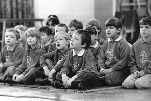Old school.'Children watch the school play at Castlefield Infant Scool, Todmorden, March 1995.