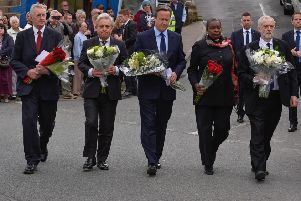 John Bercow (second left) joined political leaders in Birstall 24 hours after the murder of MP Jo Cox.