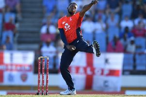 Chris Jordan of England bowls during the First Twenty20 International match between England and West Indies at Daren Sammy Cricket Ground on March 5. (Picture: Gareth Copley/Getty Images)
