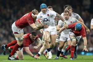 On-the-ment England winger Jack Nowell (centre) in action during last month's Guinness Six Nations match at the Principality Stadium. PIC: David Davies/PA Wire