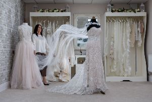 Date:6th March 2019. Picture James Hardisty. Wendie Towler, Designer/Dress Maker from Perfect Fit Bridal Couture, Lower Brunswick Street, Leeds.