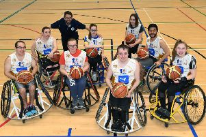 Leeds Spiders Wheelchair Basketball Club members training at Morley Leisure Centre.' PIC: Jonathan Gawthorpe