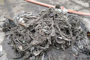 A pile of wet wipes sucked out from the sewers in Cross Green.