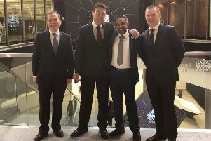 Andy Burnham, Amul Batra and Chris Hill at the Stock Exchange with Adam Marshall, left, director general of the British Chambers of Commerce.