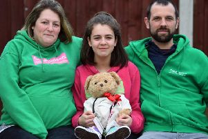 Chloe Thompson, from Old Farnley, Leeds who is fundraising in memory of her sister, Summer, a leukaemia sufferer who died aged two in 2017. Pictured with her parents Gareth and Becky.