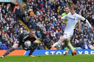 KEPT OUT: Leeds United striker Patrick Bamford is denied by Sheffield United goalkeeper Dean Henderson. Picture by Bruce Rollinson.