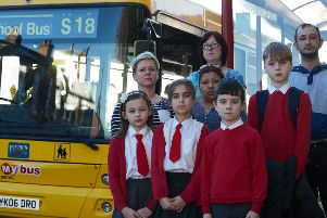 Parents fight to stop St Ignatius school bus from been scrapped.'Pictured are parents Gemma Smith, Kim Stoner, Brenda Hamer and Grant Scott with their children.