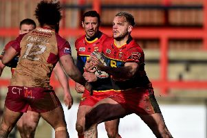 Dewsbury's Kyle Trout takes on Joel Farrell of Sheffield on Sunday.