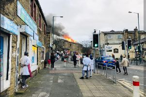 The large mill fire in Bradford. PIC: @asifbymajic