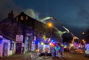 The fire at a mill in Great Horton Road, Bradford.