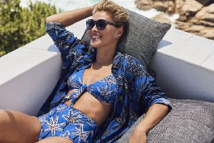 On location in Cape Town, Emma Willis tie front bikini, �16, and high waist briefs, �15, and shirt, �30. All from Next.