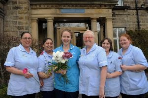Nurses launch the Mother's Day campaign at Sue Ryder Wheatfields Hospice, Headingley, Leeds. From left to right are Liz Pallister, Sonia Hunjin, Briony Forrest, Jenny Thomson, Barbara Rhodes and Leighanne Smith. Picture by Simon Hulme.