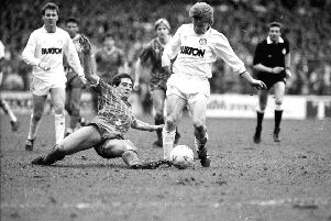 Key debut: 'Gordon Strachan in action against Portsmouth''at  Elland Road on March 25, 1989