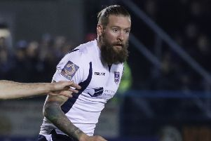 Guiseley goalscorer Kingsley James.
