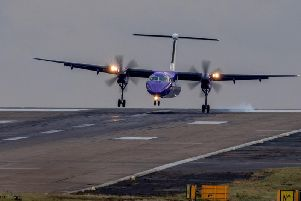 A Flybe aircraft from Belfast City lands at Leeds Bradford (photo: Charlotte Graham)