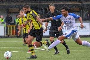 Action from Harrogate Town's 2-1 victory at Havant & Waterlooville.